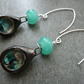 sterling silver green rock pool earrings