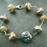 man in the moon sterling silver, lampwork and pewter bracelet