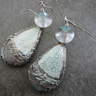 Sterling silver, lampwork and ceramic crusted earrings