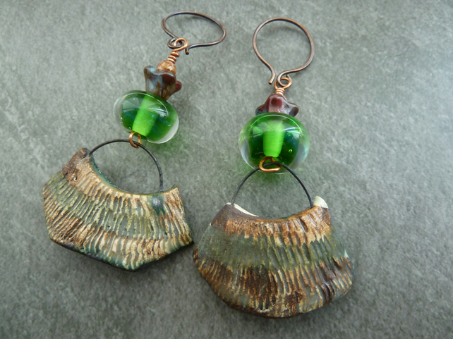 green lampwork, copper and ceramic earrings
