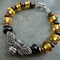 lampwork glass, pewter and sterling silver bee bracelet