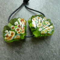 green lampwork glass shell beads