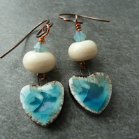 flying bird ceramic, copper and lampwork earrings