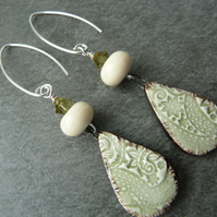 sterling silver, lampwork and ceramic earrings