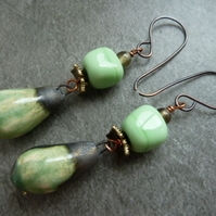 copper green drop ceramic earrings