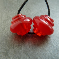 lampwork glass red ornate beads