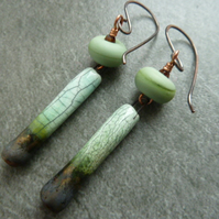 green copper, ceramic earrings