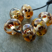 brown frit lampwork glass beads