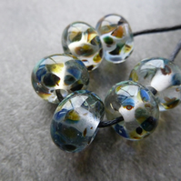 blue frit lampwork glass beads