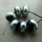 black and silver wrapped lampwork glass beads