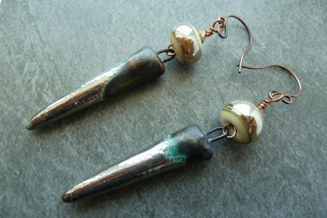 copper, lampwork glass and ceramic spike earrings