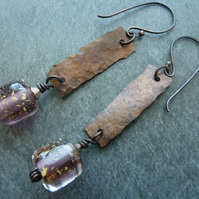 copper and gold leaf lampwork earrings