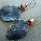 copper, lampwork and blue leaf earrings
