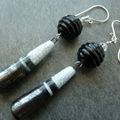sterling silver, lampwork and ceramic black earrings