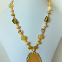 sterling silver yellow agate necklace