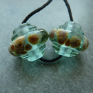 aqua raku ornate lampwork glass beads