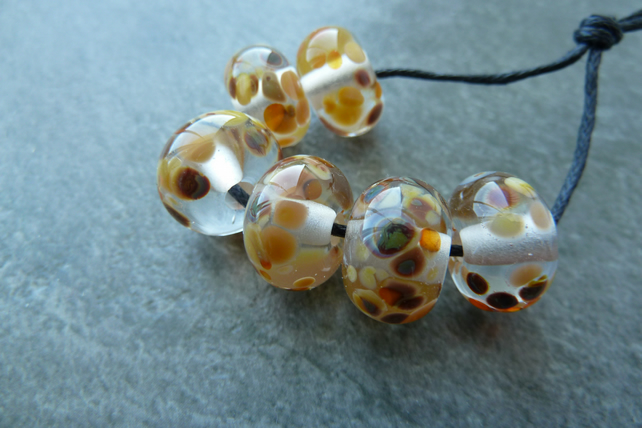 autumn frit lampwork glass beads
