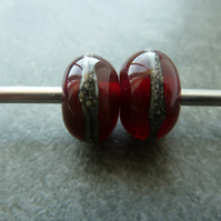cranberry wrapped lampwork glass beads