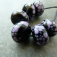 black and purple frit lampwork glass beads