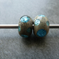 blue sparkly spots lampwork glass beads