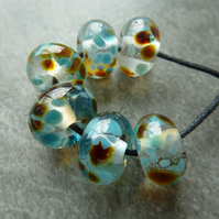 blue and brown frit lampwork glass beads