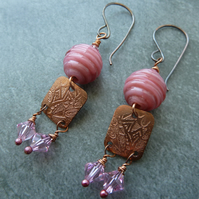 pink and copper lampwork earrings