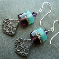 sterling silver, green and purple pewter earrings