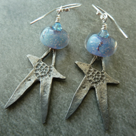 sterling silver, lampwork glass and pewter star earrings