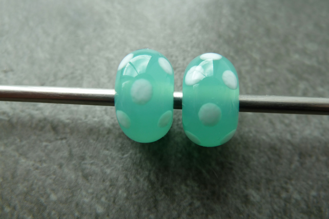 lampwork beads, green and white spots