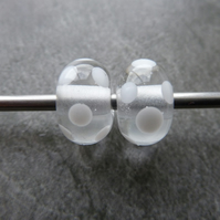 clear and white spot lampwork glass beads