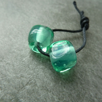 green nugget lampwork glass beads