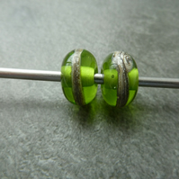 green wrapped lampwork glass bead pair