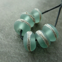 aqua wrapped lampwork glass beads