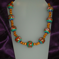 Ceramic and wood beaded necklace
