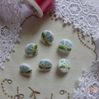 Six Laura Ashley Fabric Covered Buttons