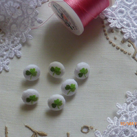 6 Tiny Laura Ashley Covered Buttons - Clover Leaf