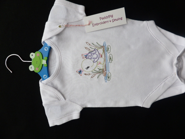 Vintage Style Embroidered Turtle Babygrow 0-3 Months (Other sizes available)