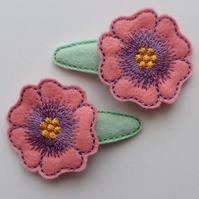 Pretty Pink Embroidered Flower Hair Clips - Free UK Postage