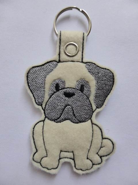 Pug Dog Keyring - Free UK Postage