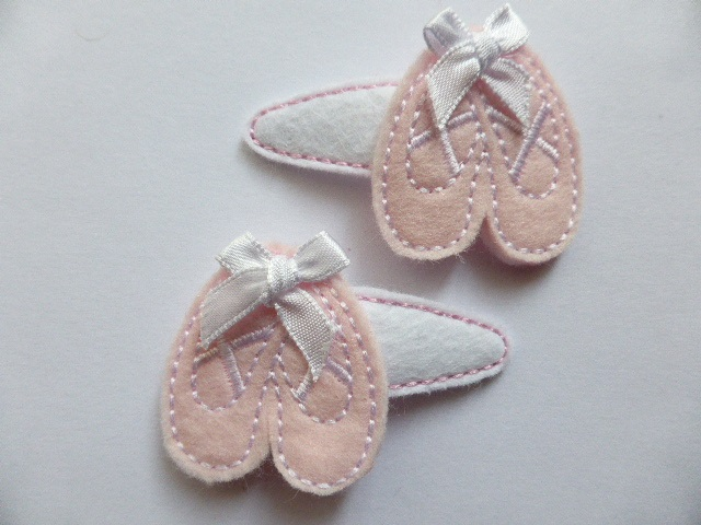 Two Pretty Ballet Shoe Hair Clips with Satin Bows - Free UK Postage
