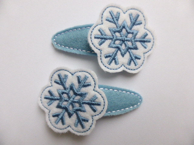 Embroidered Felt Snowflake Hair Clip - Free UK Postage