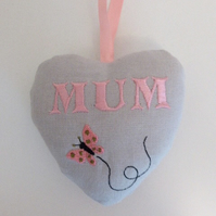 'Mum' and Butterfly Embroidered Heart for Mother's Day - Vintage Fabric