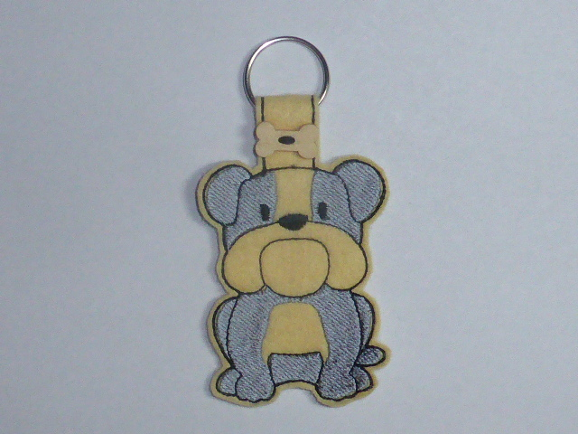 Felt Bull Dog Keyring - Free UK P & P