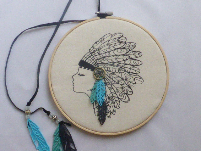 Indian Squaw Embroidered Hoop Art with Lace Textile Feathers
