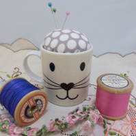 Kitty Cat Kitten Face Espresso Cup Pin Cushion - Sewing Ideas
