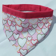 Dog Bandana Heart Fabric Pink