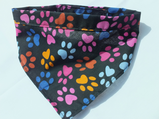 Dog Bandana with Paw Print design Fabric