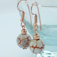 Red Agate Bead Earrings with Rose Gold Plated Hooks