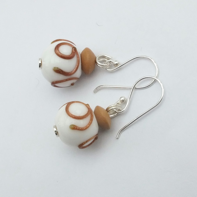 White Glass Earring with Silver Plated Shepherd Hooks