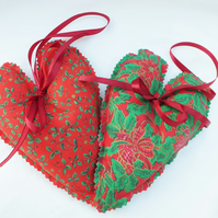 Christmas Traditional Fabric Hanging Heart one pair.